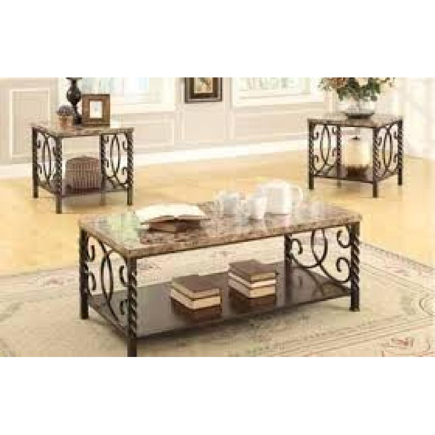Faux Marble Table Top & Metal Legs Coffee + 2 End Tables-2