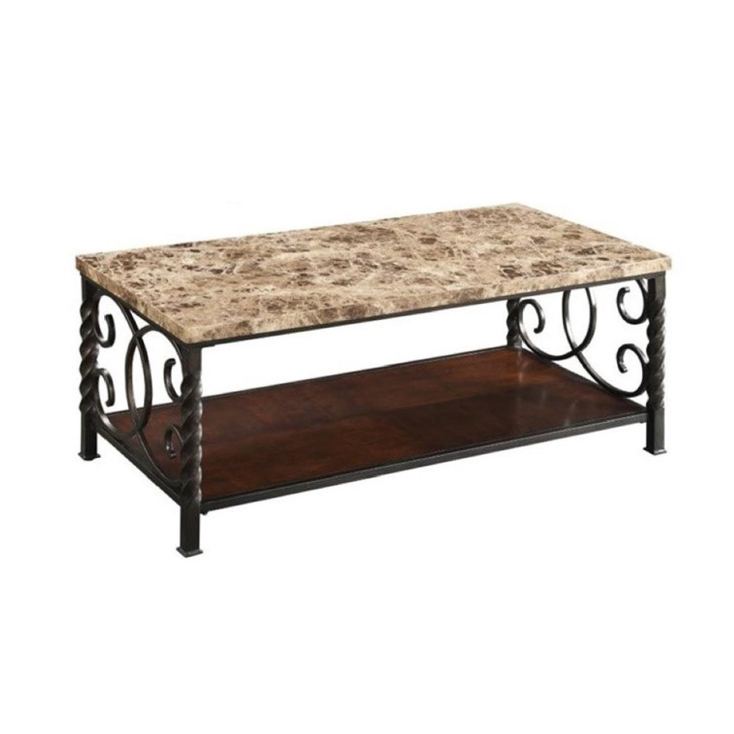 Faux Marble Table Top & Metal Legs Coffee + 2 End Tables