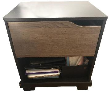 Wood 1 Drawer/Shelf Nightstand