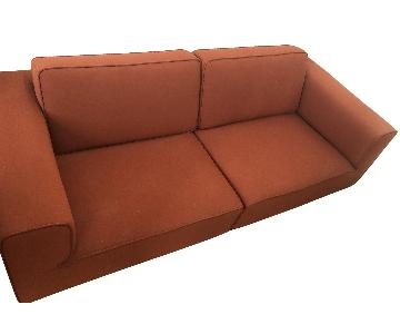 Dark Orange Structured 2-Piece Sofa