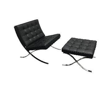 Mid-Century Modern Black Leather Chaise & Ottoman