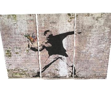 Banksy Flower Thrower Canvas Painting