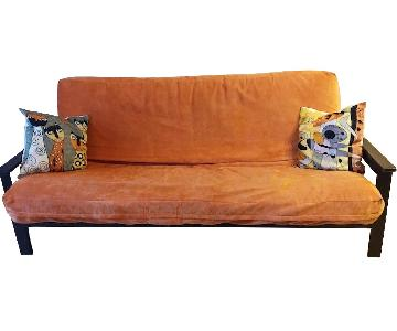 Full Size Futon Sofa w/ Dark Wood Frame