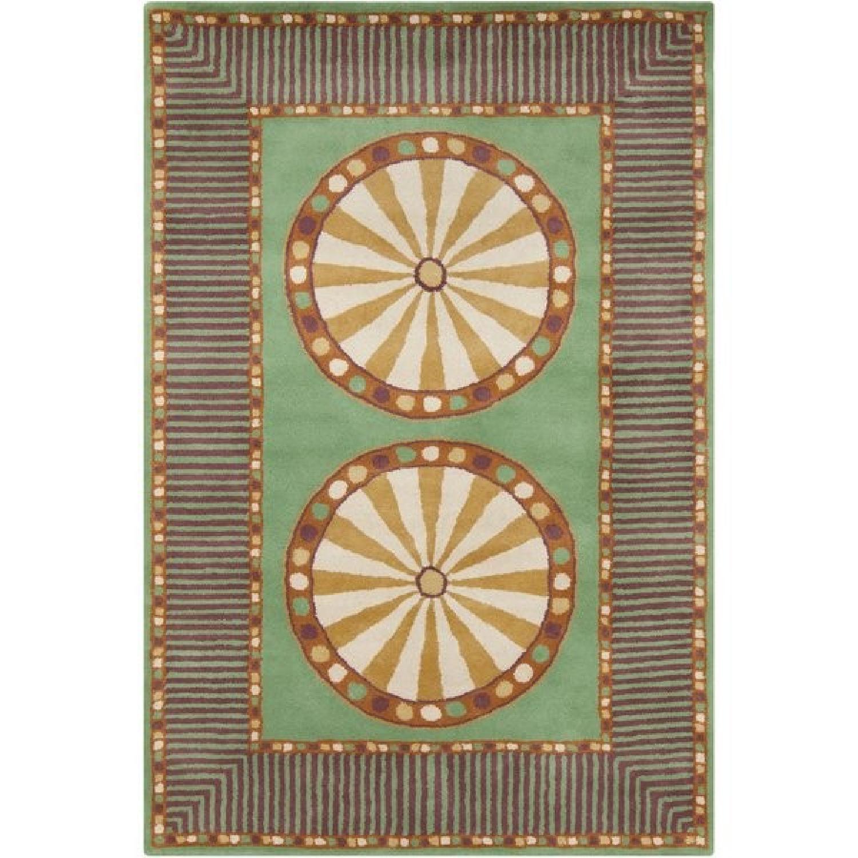 Allie Handmade Geometric Green Wool Rug