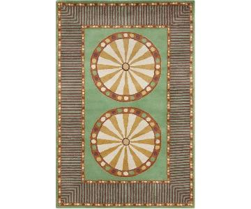 Allie Handmade Geometric Green Wool Rug