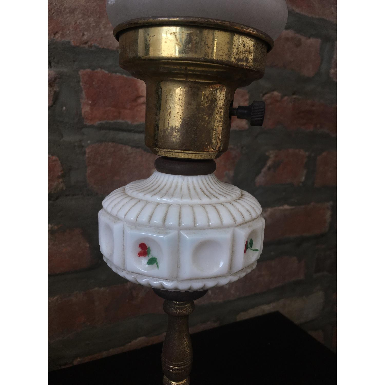 Vintage Glass & Metal Table Lamp-1