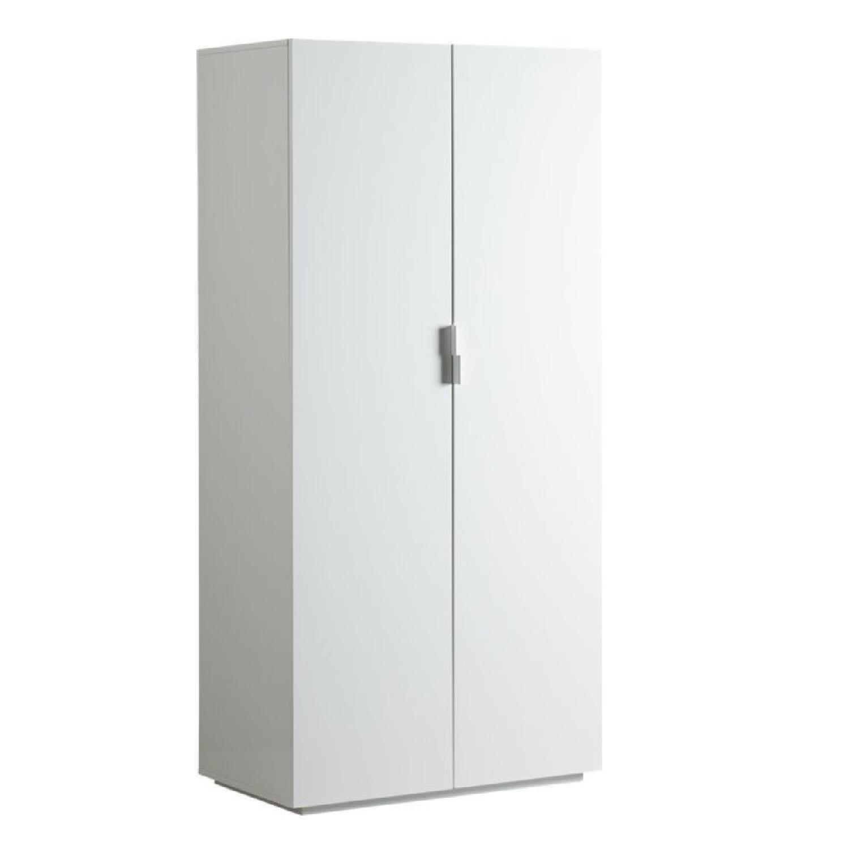 CB2 White Lacquer Cabinet Armoire