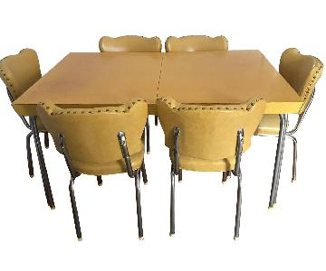 1950s Vintage Formica Extension Table w/ 6 Chairs