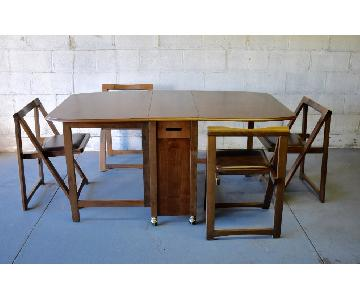 Mid Century Modern Walnut Hide-A-Way 5-Piece Dining Set