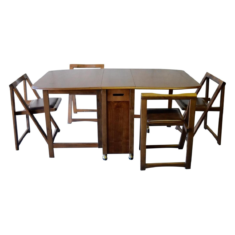 Mid Century Modern Walnut Hide-A-Way 5-Piece Dining Set