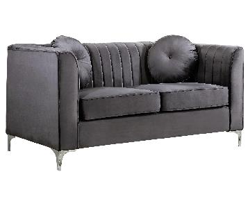 Willa Arlo Chesterfield Style Loveseat in Gray Velvet Fabric