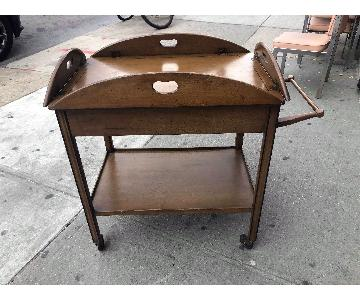 Vintage Mid Century 1960s Drop Leaf Cart w/ Drawer