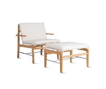 Design Within Reach Outdoor Lounge Teak Chair & Ottoman