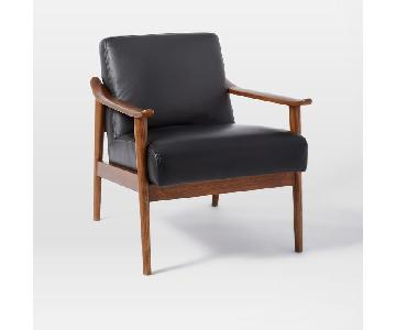 West Elm Mid Century Show Wood Leather Chair