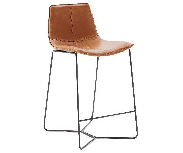West Elm Slope Leather Bar Stools