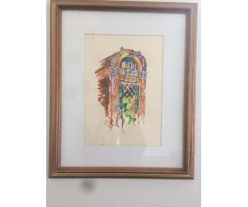 Framed Original Watercolor of a Wurlitzer
