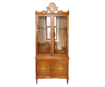 Furnish Green Wood Glass Front Art Nouveau Hutch