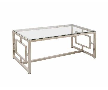 Silver Geometric Sided Rectangle Glass Coffee Table