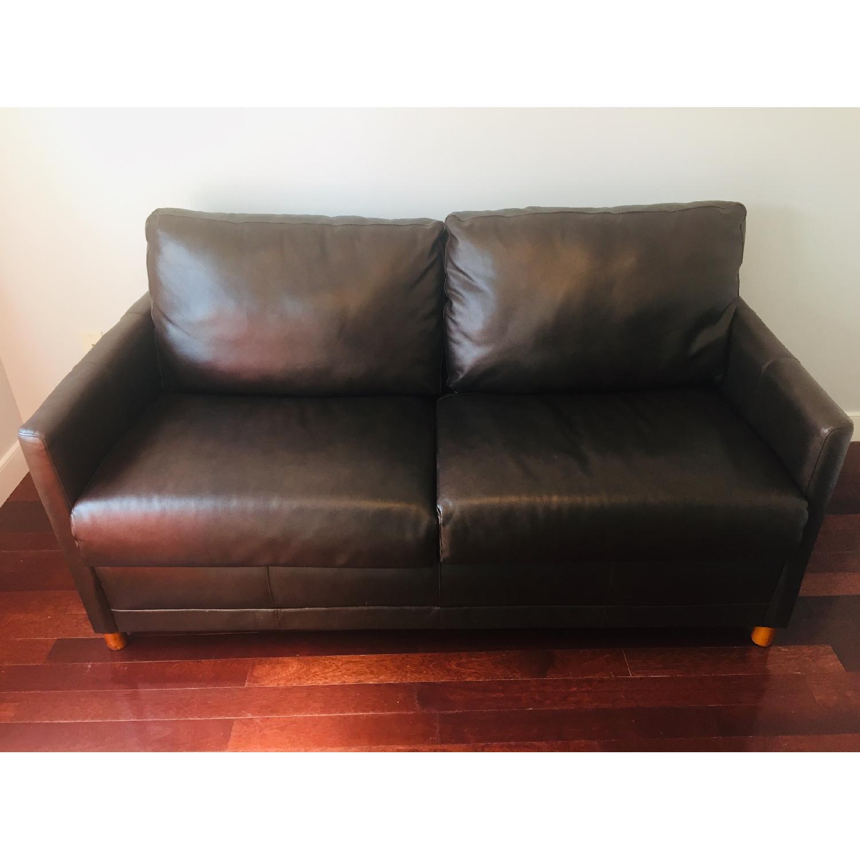 Jennifer Convertibles Chocolate Brown Leather Sleeper Sofa