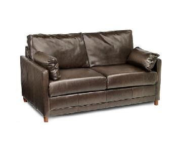 Jennifer Convertibles Chocolate Brown Leather Sleeper Sofa