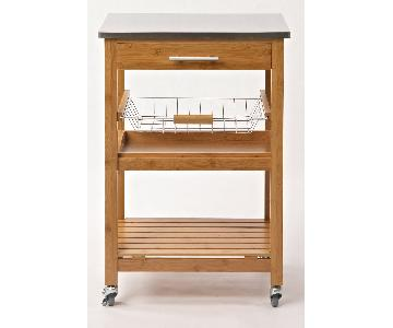 Mini Bamboo Kitchen Cart w/ Stainless Steel Top
