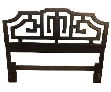 Chinoise Pagoda Style Greek Key Wooden Bed Frame