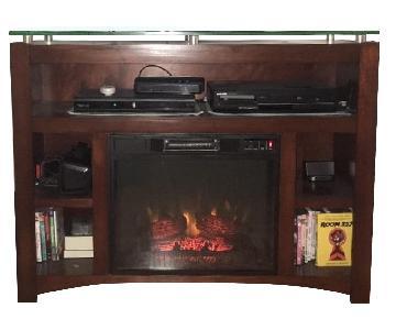Bob's Glass TV Console w/ Electric Fireplace