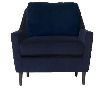 West Elm Everett Chair & Ottoman in Performance Velvet Blue