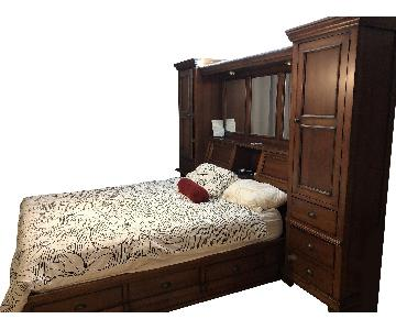 Vintage Storage Queen Bed w/ 2 Armoires