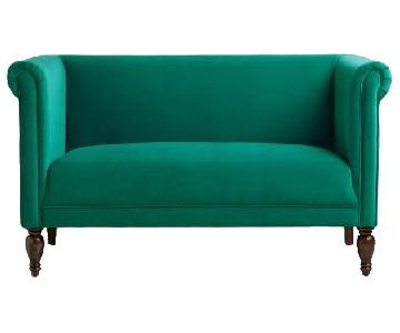 World Market Emerald Green Velvet Marian Loveseat