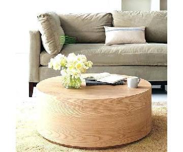 West Elm Wood Drum Coffee Table