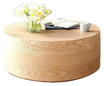 West Elm Wood Drum Coffee Table