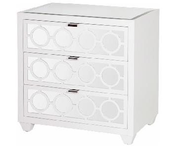 Malta Global Bazaar White Lacquer Mirror Nightstand