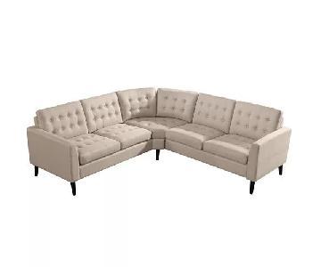 Brayden Studio Beige Linen Sectional w/ Corner Wedge Seat