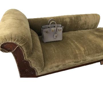 Antique Eastlake Victorian Velvet Chaise Lounge