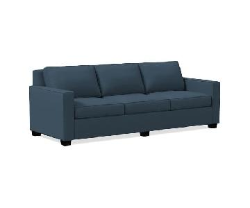 West Elm Henry Regal Blue Linen Weave Sofa