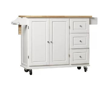 Three Posts Hardiman Kitchen Cart w/ Wood Top