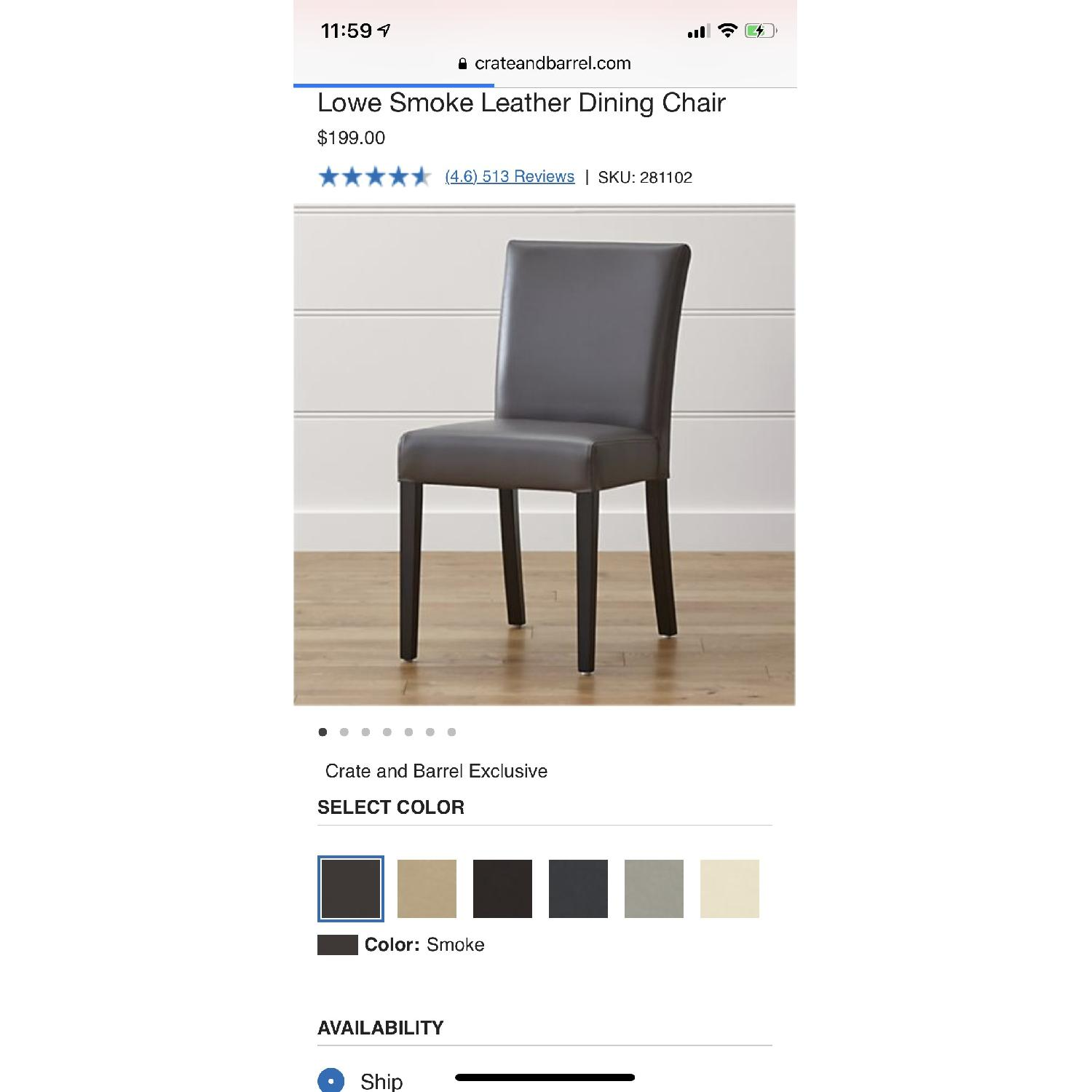 Crate & Barrel Lowe Smoke Leather Dining Chairs-0