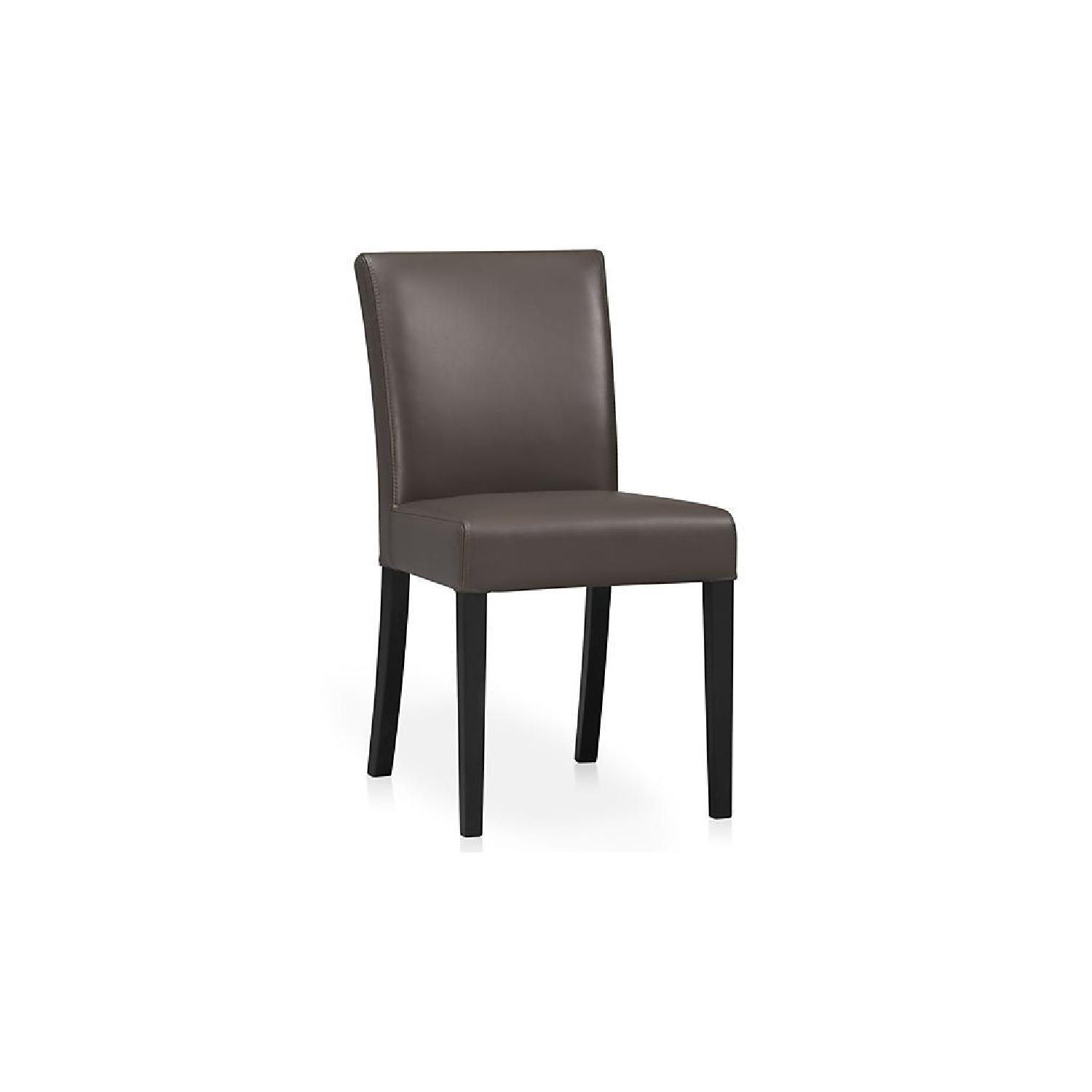 Crate & Barrel Lowe Smoke Leather Dining Chairs