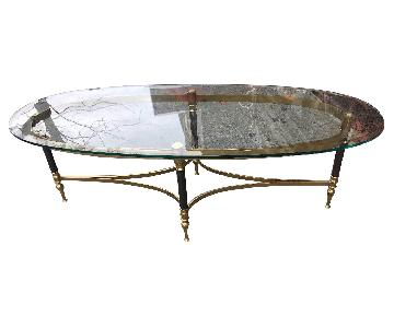 Vintage Mid Century Metal & Glass Coffee Table