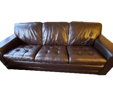 Havertys Brown Leather Sofa