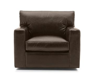 Crate & Barrel Leather Swivel Chair