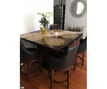 Brown Square Wooden Table w/ 4 Chairs