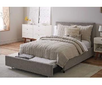 West Elm Queen Contemporary Storage Bed in Dark Grey