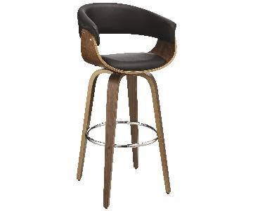 Mid Century Style Barstool in Padded Black Leatherette Seat & Back