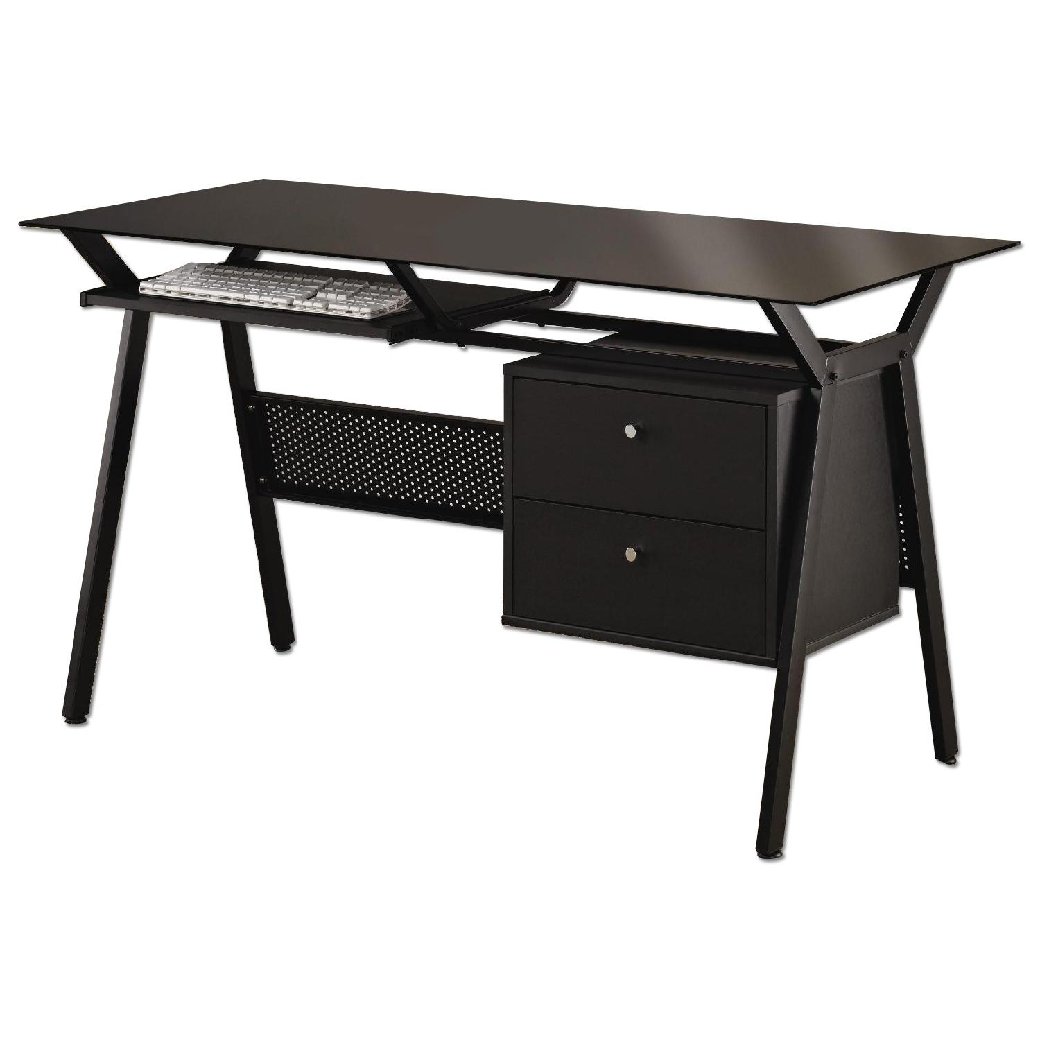 Glass Top Black Powder Coated Metal Black Computer Desk W 2