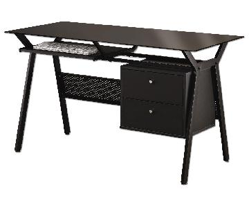 Glass Top Black Powder Coated Metal & Black Computer Desk w/ 2 Storage Drawers & Pull-Out Keyboard Tray
