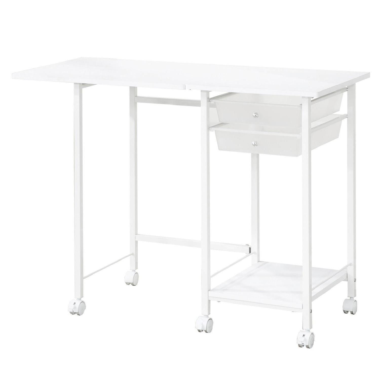 Folding Office Desk w/ Lockable Casters/Shelf & 2 Storage Drawers
