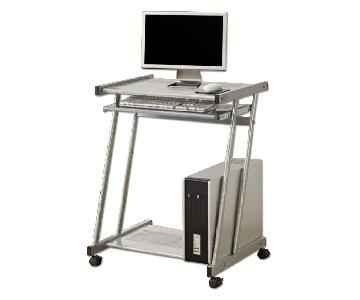Glass Top Mini Computer Cart w/ Silver Finished Metal Frame, Pull-Out Keyboard Tray & Lockable Casters