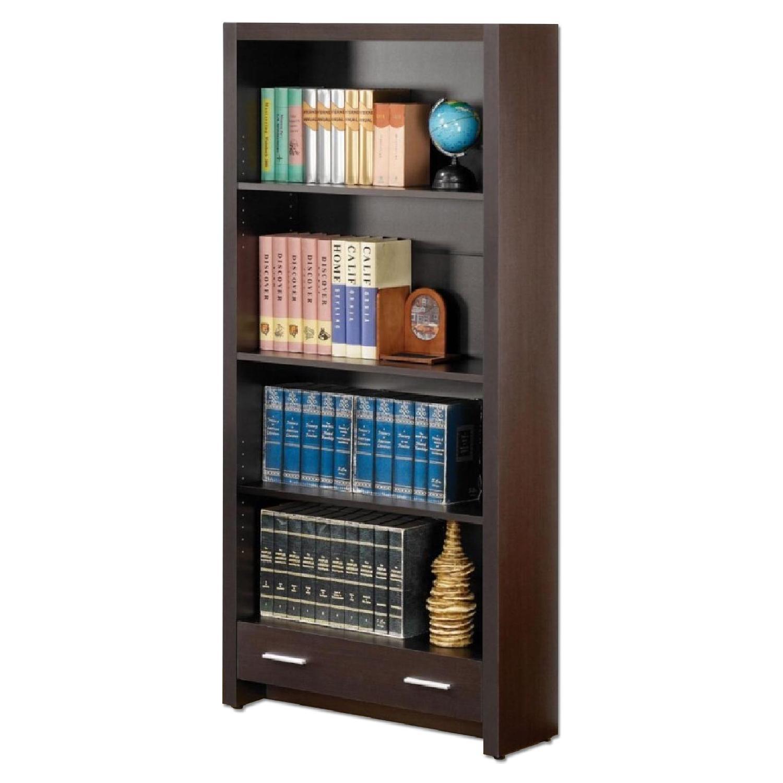 Sleek Bookcase w/ Bottom Storage Drawer in Cappuccino Finish